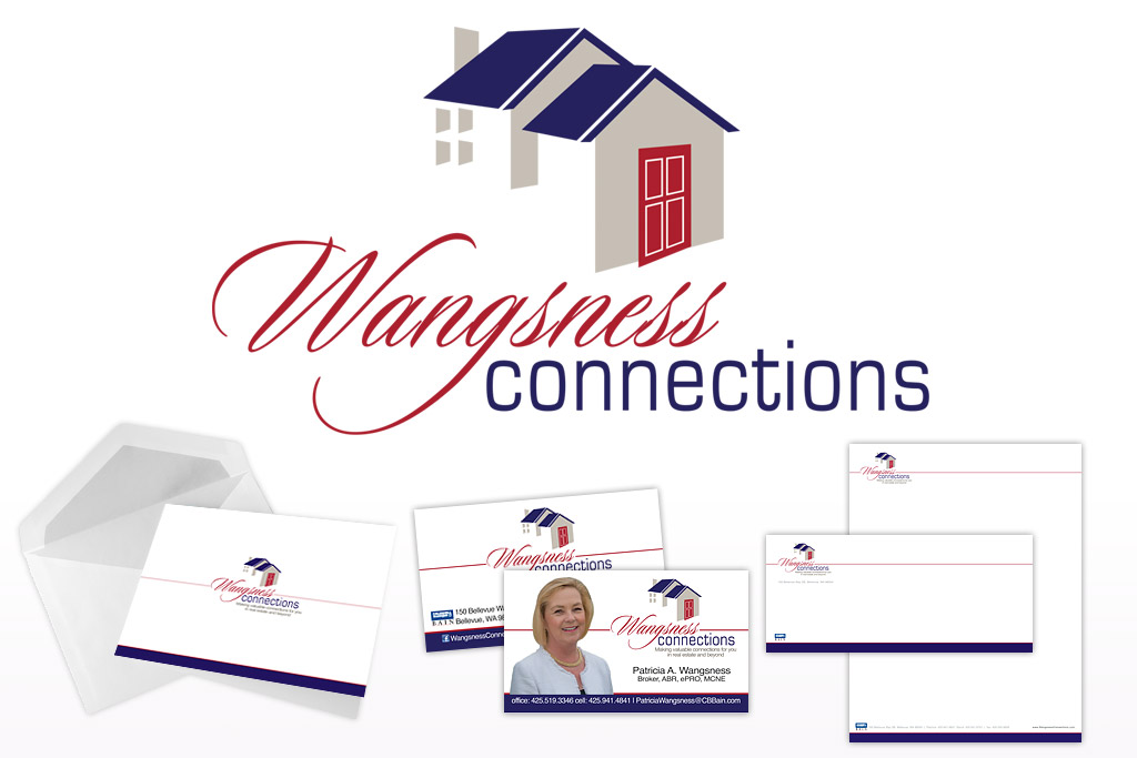 Wangsness Connections Logo, Business Card, Letterhead and Envelope Designs