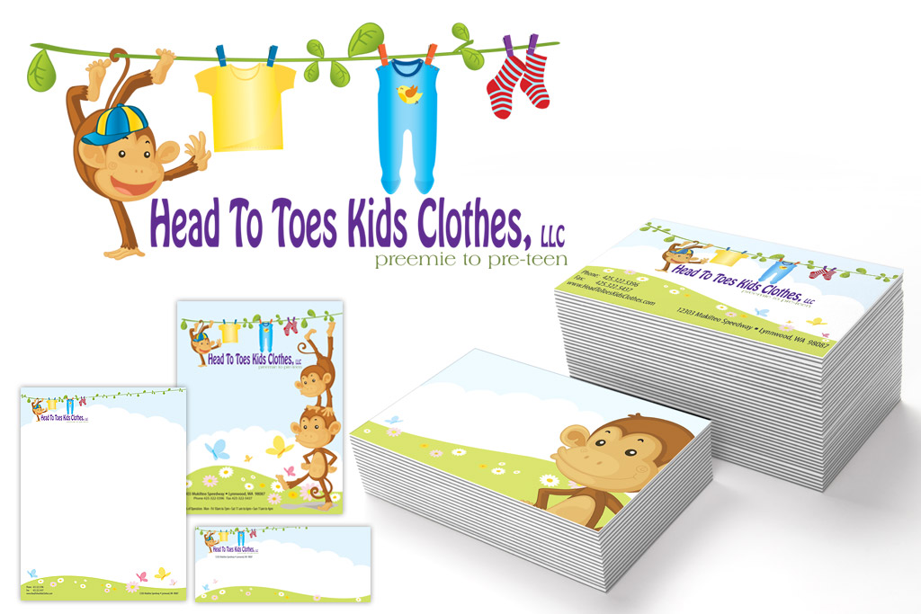 Head To Toes Kids Clothes Logo, Business Card, Letterhead, Envelope Designs