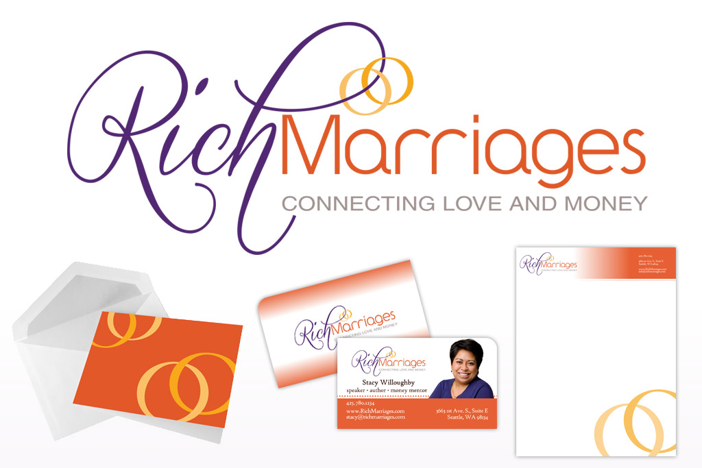 Rich Marriages Logo, Business Card, Letterhead, and Notecard Designs
