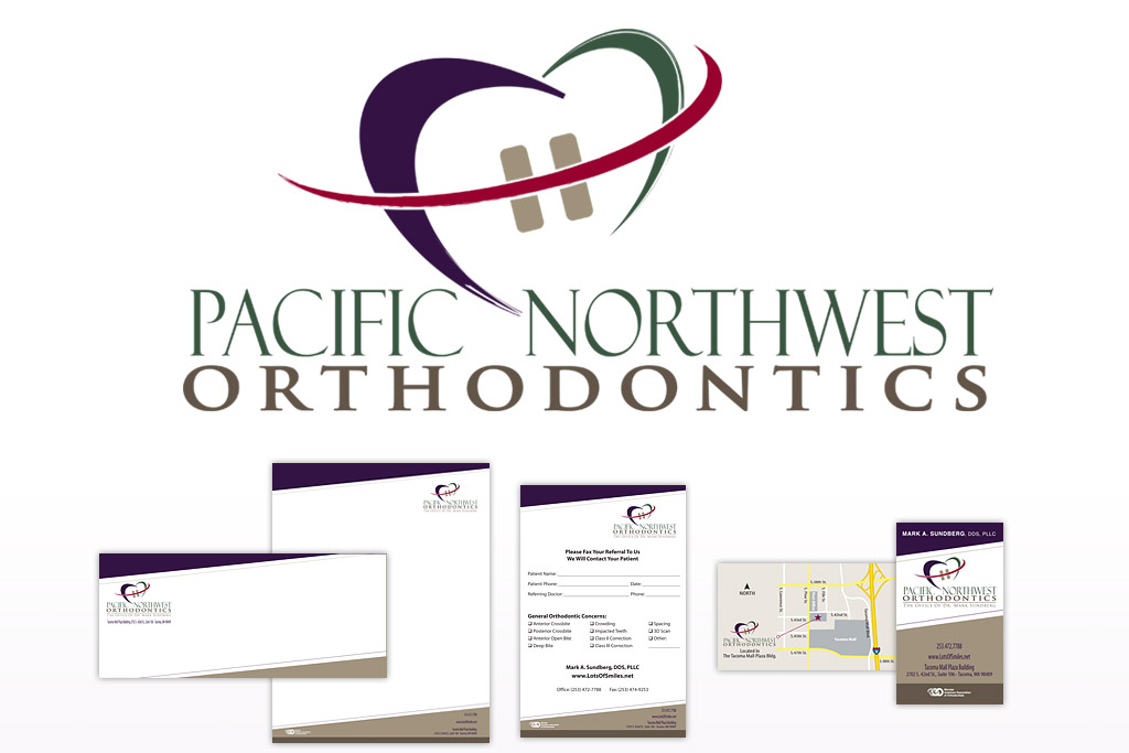 Pacific Northwest Orthodontics Logo, Letterhead, Business Card, Referral Form Designs